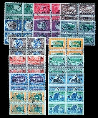 LIBERIA 1921 Officials Birds Wildlife SG0428/41 Fine/Used Blocks of 4 NL942