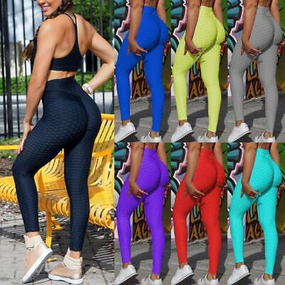 High Waist Fitness Leggings Womens Workout Push Up Trousers Solid Yoga Pants LC