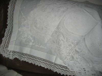 2 Antique Vintage Linen Tablecloths Tape Needle Lace Embroidery -Lovely Quality
