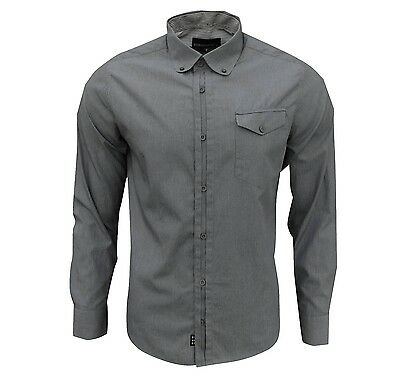Duck and Cover Men's Felix Long Sleeve Pinstripe Shirt Grey/White Small