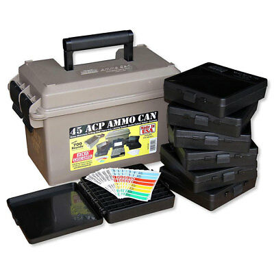 MTM ACC45  45 ACP Ammo Can for 700 rd. Includes 7 each P-100-45's Dark Earth