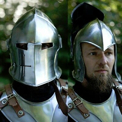 Medieval Visored Barbuta Helmet ARMOUR HELMET GREEK ROMAN BARBUTE EUROPEAN