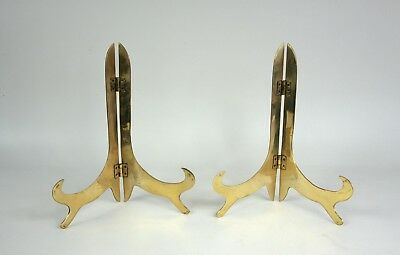 Pair Solid Brass Picture / Book Holders - Large Size - Display - 11 inches High