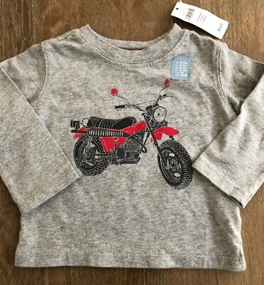 Boys Baby Gap 6-12 months Gray Motorcycle Top L/S NEW NWT Shirt