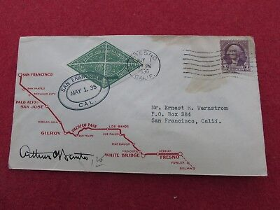 1935 - BICYCLE MAIL COMMEMORATIVE COVER - FRESNO TO SAN FRANCISCO Arthur Banta