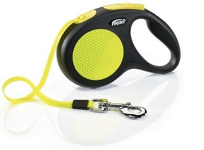 BRAND NEW Flexi Neon Reflect Black & Neon Yellow Retractable Dog Leash Med 55 pd