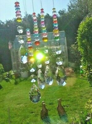 Feng Shui Suncatcher 38mm K9 Faceted Glass Rainbow Prism & Mix Coloured Crystals