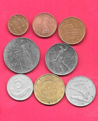 Italy Italian 8 Diff Different 1954-2009 Coin Lot Collection Set Old-Euro