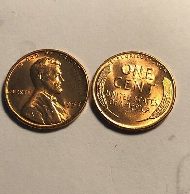 1957 Lincoln Cent Gem  (Red)