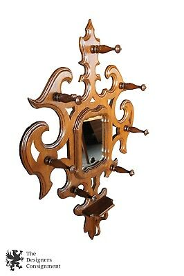 Antique Victorian Walnut Hall Tree Wall Hanging Mirror Coat Hat Rack Mount Shelf