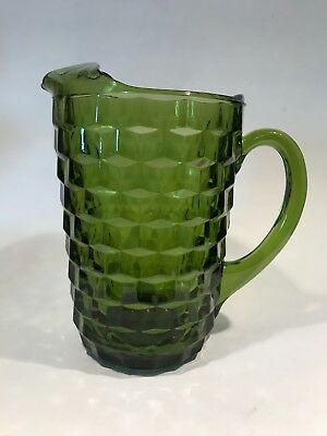 Vintage 60's COLONY Pressed Glass Cubist Pattern~INDIANA Whitehall GREEN PITCHER
