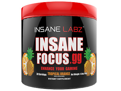 INSANE LABZ- INSANE FOCUS GG - 30 Servings - CHOOSE FLAVOR - GAMING ENERGY