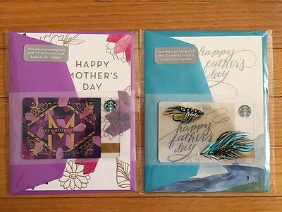 """Canada Series Starbucks """"FATHERS & MOTHER'S DAY - 2016"""" Card Set -New No Value"""