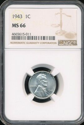 1943 War-Time Zinc Plated Steel Lincoln Cent NGC MS66