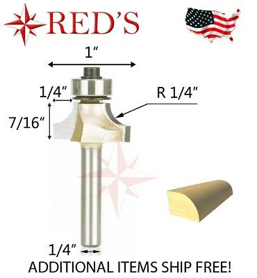 "Tideway Carbide Professional LC06020804 1/4"" R Round Over 1/4"" shank router bit"