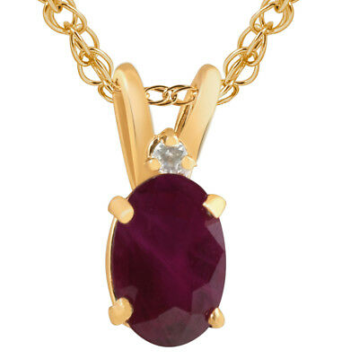 """Oval Ruby & Diamond Solitaire Pendant 14 KT Yellow Gold With 18"""" Chain"""
