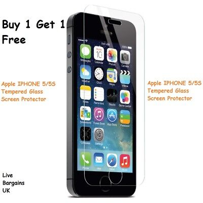 Genuine Tempered Glass Screen Protector Cover For Iphone 5 5S Se