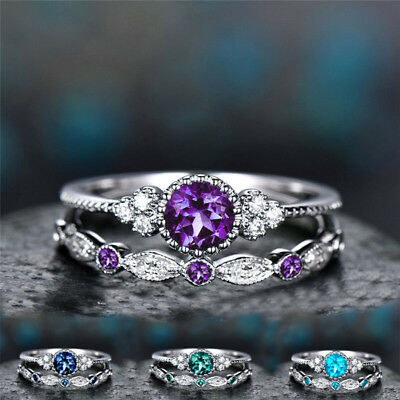 Fashion 925 Silver Round Cut Sapphire Women Wedding Ring Set Size 5-10 Charm