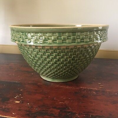"Early 20th c. Antique McCoy 10"" Yellowware GREEN Checkerboard Mixing/Dough Bowl"