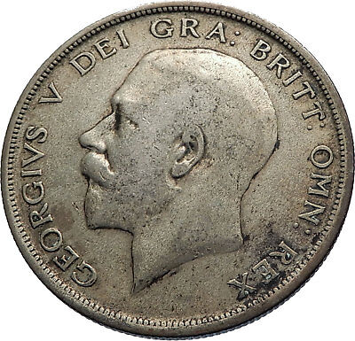 1920 Great Britain United Kingdom UK King GEORGE V Silver Half Crown Coin i74295