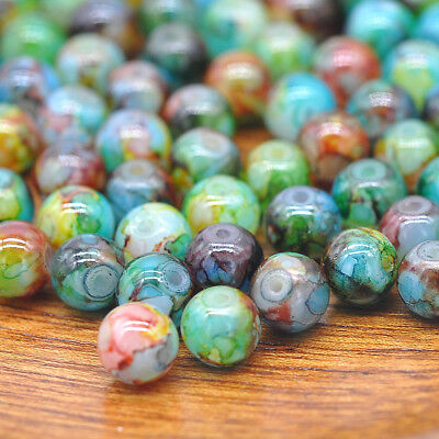 NEW DIY 8mm 30PCS Glass Round Pearl Spacer Loose Beads Pattern Jewelry Making