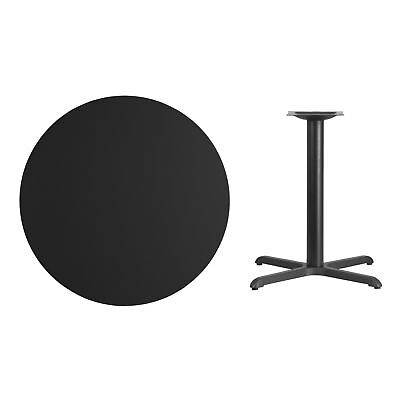 36-inch Round Laminate Table Top with Table Height Base - Black