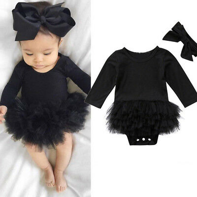 Infant Baby Girl Tulle Tutu Romper Bodysuit Clothes Headband Outfits Set B2 Lot