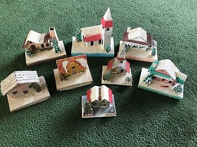 Vintage Christmas Handmade Paper House Decoration Lot Japan