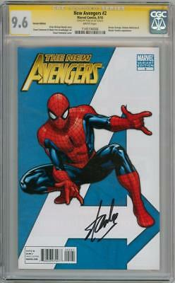 New Avengers #2 Spider-Man Variant 1:75 Cgc 9.6 Signature Series Signed Stan Lee