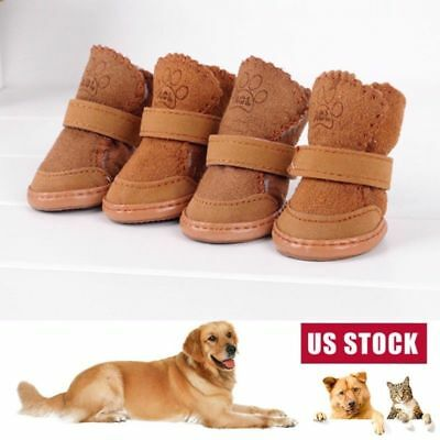 4PC Pet Dog Winter Warm Boots Puppy Anti-Slip Snow Booties Shoes Protective US