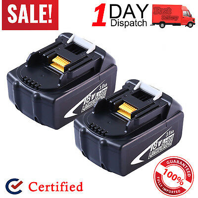 2x For Makita BL1840 BL1830 LXT400 194205-3 18V 3.0Ah Lithium-Ion Battery BL1815