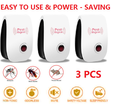 3x Plug-in Electronic Ultrasonic Anti Rat Mouse Bug Mosquito Flea Pest Repeller