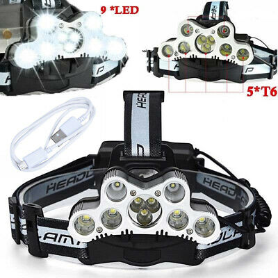 200000LM 9LED Headlamp USB Rechargeable 18650 Headlight Head Torch + Cable UK