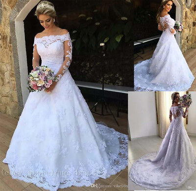 Sweep Train Country Wedding Dresses Vintage Off Shoulder Lace Long Bridal Gowns