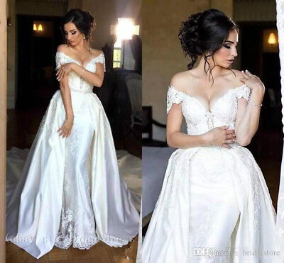 Plus6 30w Mermaid Wedding Dresses Detachable Train Long Satin V Back