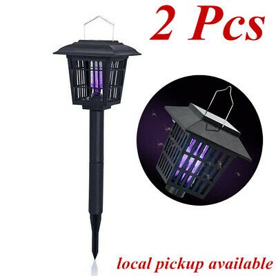 2Pcs Solar Mosquito Zapper Outdoor Backyard Flying Insects Killer Cordless Lamp