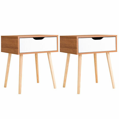 2PCS Nightstand End Side Table Storage Drawer Living Room w/ Solid Wood Leg