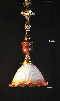 original 1940s French art deco Holophane Bronze Teak brass ceiling light lantern