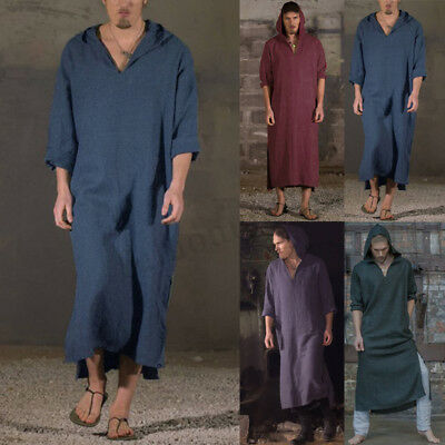Men Women Casual Hoody Kaftan Shirt Arab Islamic Kandora Thobe Robe Dress Summer