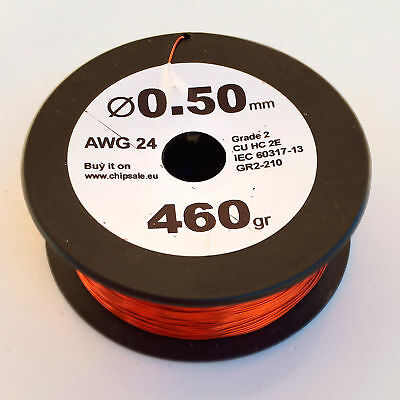 0.5 mm 24 AWG Gauge 460 gr ~260 m (1 lb) Enameled Copper Magnet Wire Coil