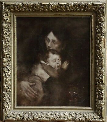 19th CENTURY FRENCH OIL ON CANVAS - MOTHER & CHILD - MATERNITE - BEAUTIFUL