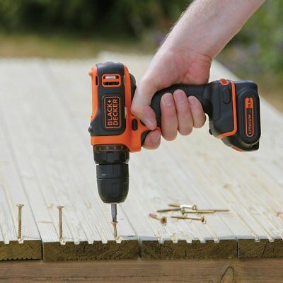 Black and Decker 10.8 V Lithium-Ion Compact Cordless Drill Driver LED Work Light