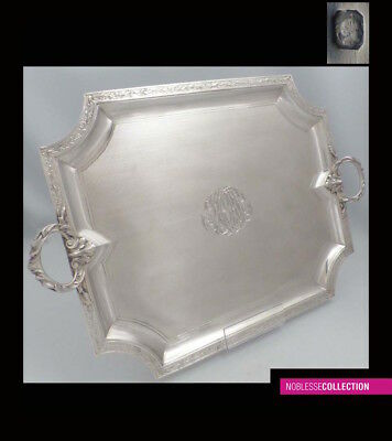 ANTIQUE 1890s FRENCH STERLING SILVER PLATTER SERVING TRAY 16.38 in. 1,12 kg