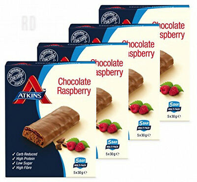 Atkins Chocolate Raspberry, Low Carb, High Protein Snack Bar (4 x 5 bars of 30g)