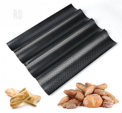ilauke Baguette Baking Tray Perforated French Stick Loaf Molds Pan for 4...