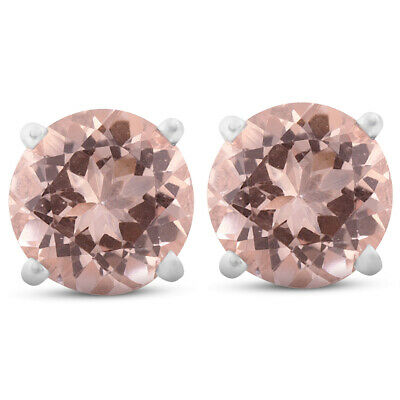 6mm Morganite Studs Available in 14K White Or Yellow Gold 1 1/2ctw