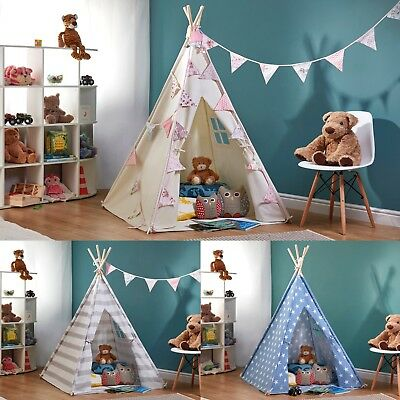 My Play Children's Canvas Indian Tepee Tent Wigwam Indoor Outdoor Play House NEW