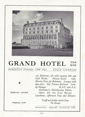 PLYMOUTH The Grand Hotel Vintage Advertisement 1958