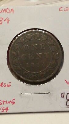 1884 Canada Large Cent Coin Obverse 2 Ghosting On Reverse Very Good #AA055