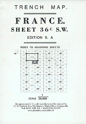World War 1 Trench Map French Sector France Sheet 36C S.w. Ed 9A (Loc.23)